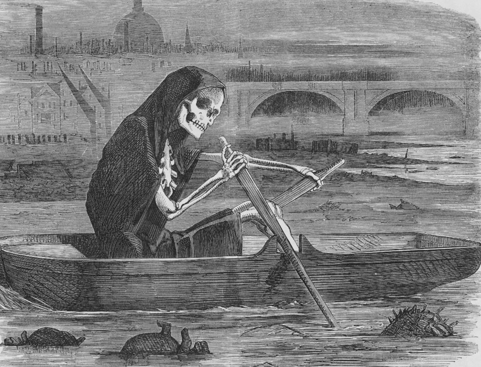 """The Silent Highwayman"" (1858). Death rows on the Thames, claiming the lives of victims who have not paid to have the river cleaned up.  Punch Magazine - Original: Cartoon from Punch Magazine, Volume 35 Page 137; 10 July 1858 This copy: City and Water Blog"